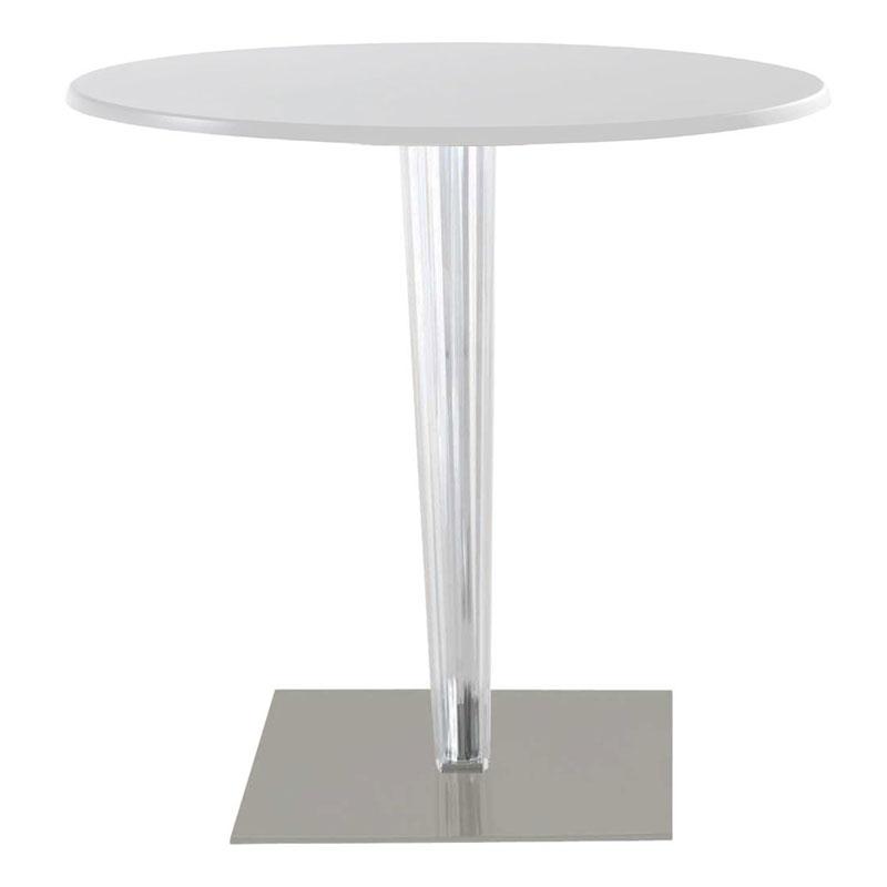Kartell TopTop Round Laminated Cafe Table Square Pleated Leg U0026 Grey Base