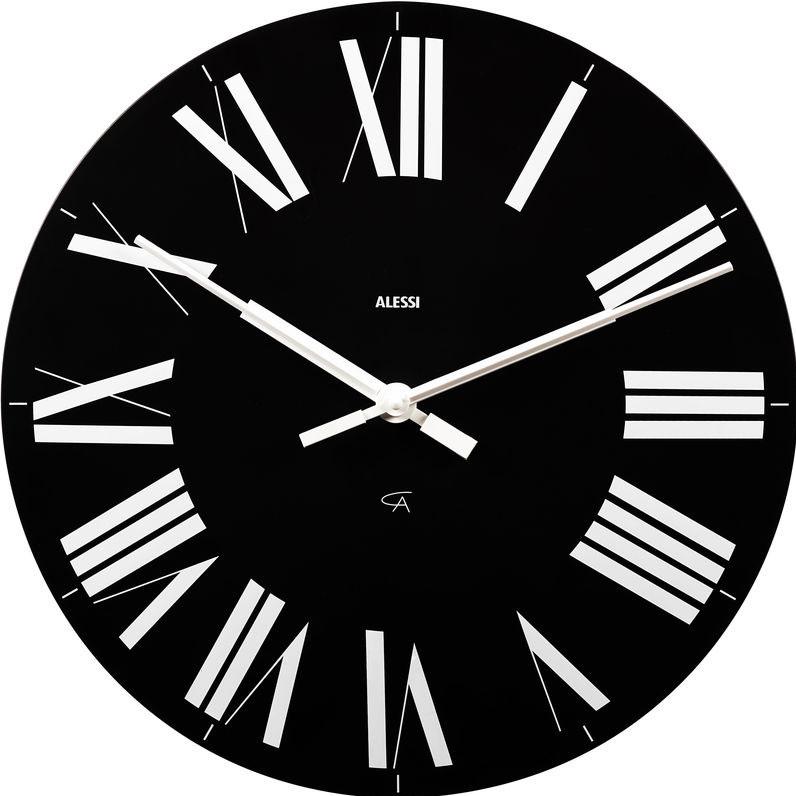 alessi firenze wall clock slim round black face white roman numerals