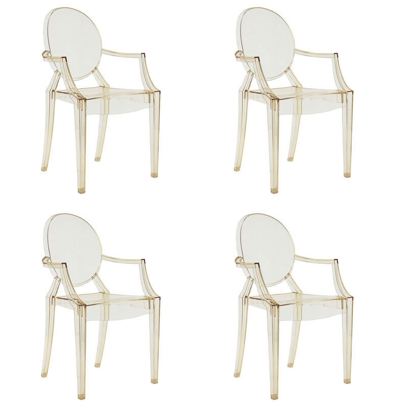 kartell louis ghost armchair set of 4 by philippe starck
