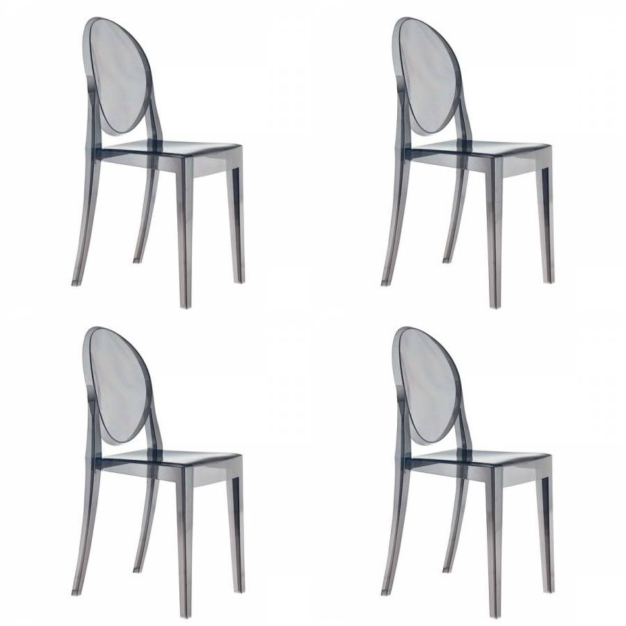 Set of 4 Kartell Victoria Ghost Chairs - Designed by Philippe Starck