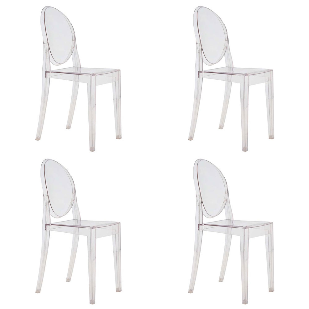 Set Of 4 Kartell Victoria Ghost Chairs   Designed By Philippe Starck