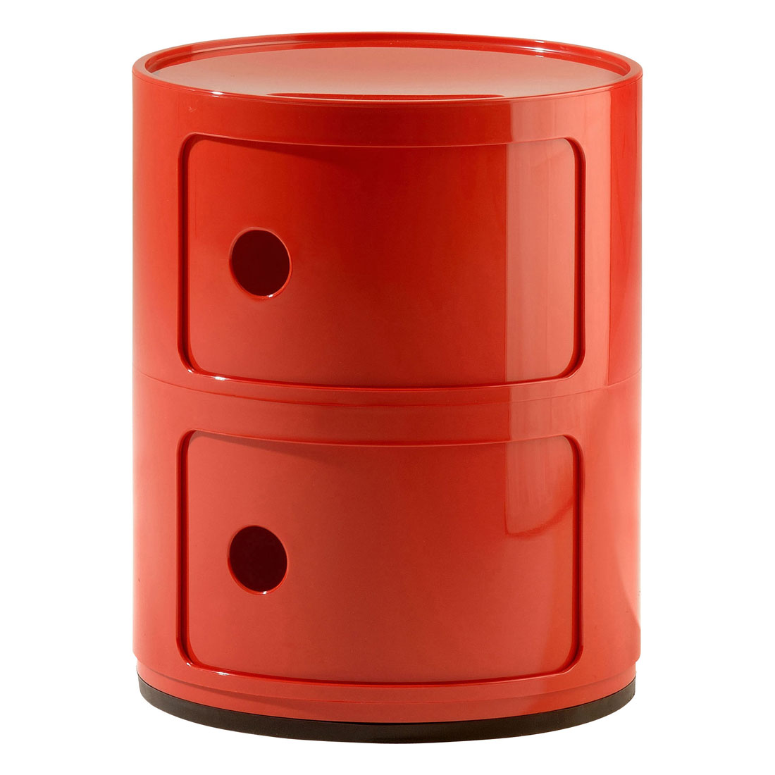 Kartell Componibili 2 Tier Round Storage Unit   Rubberised Base