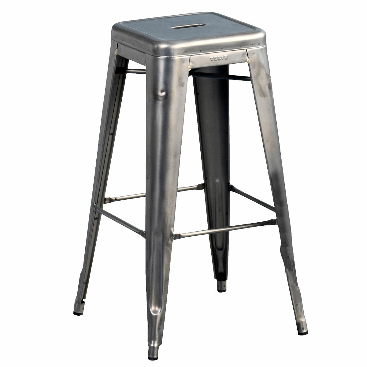 Tolix H 70 High Bar Stool Raw Steel   Xavier Pauchard Designed ...