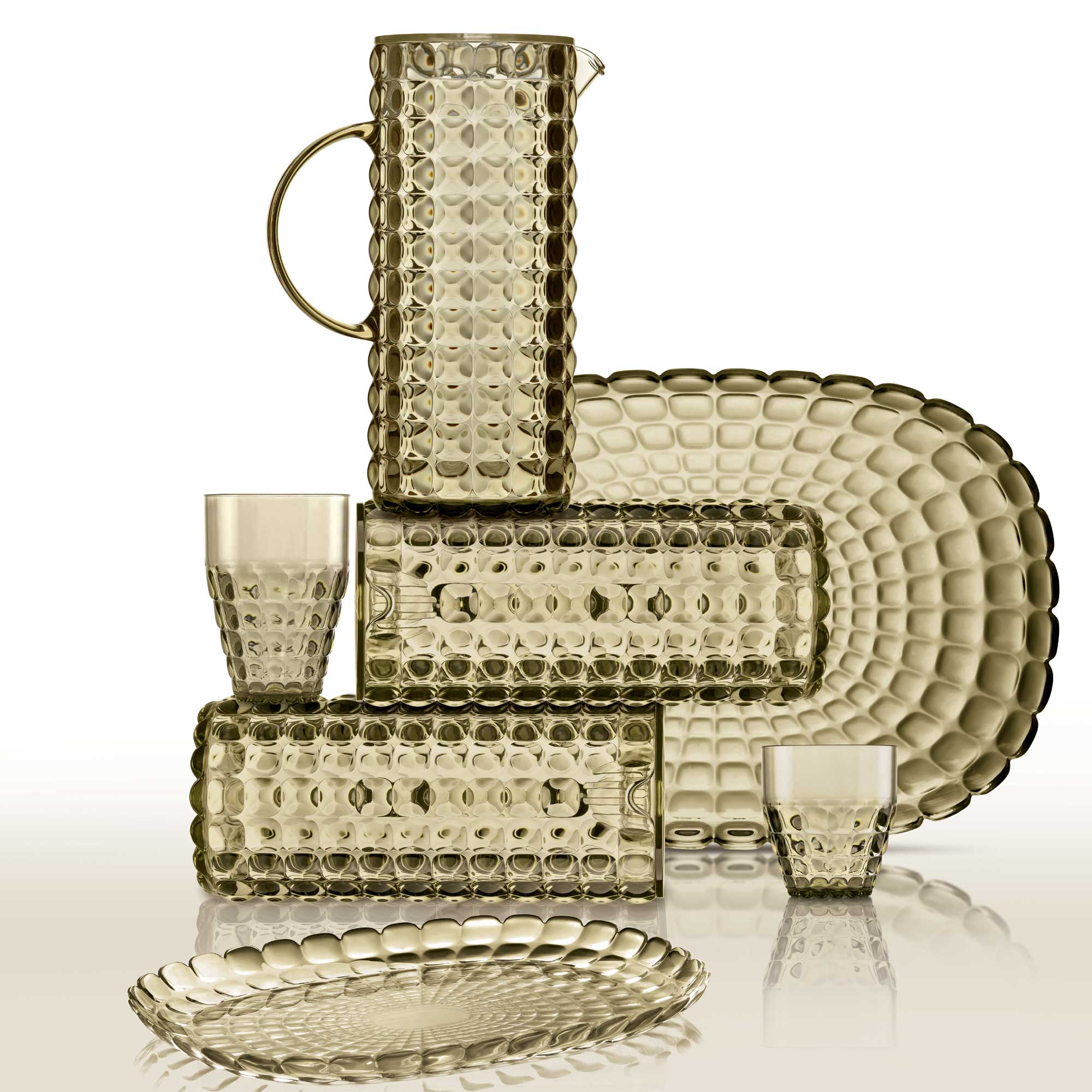 guzzini tiffany  Guzzini Tiffany Pitcher - Transparent Plastic w/ Sparkling Color Effects
