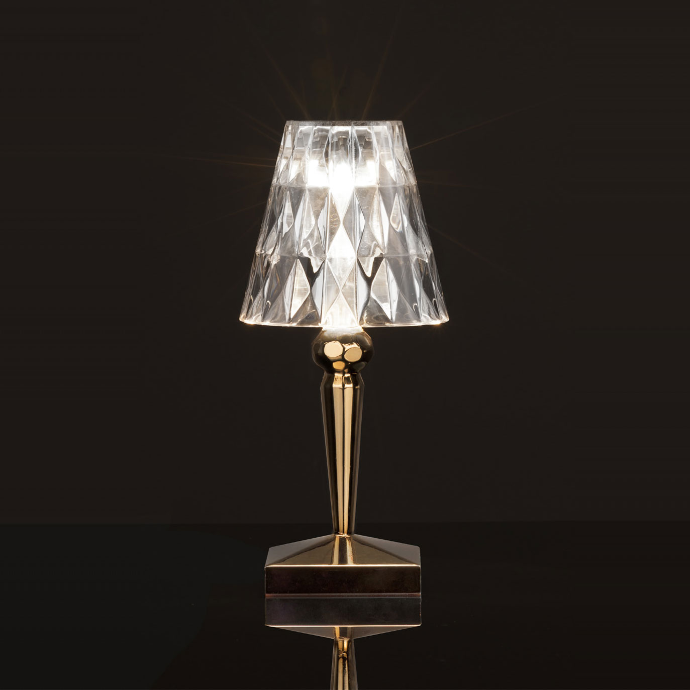 ... Kartell BATTERY Table Lamp Metallic Rechargeable   By Ferruccio Laviani  ...