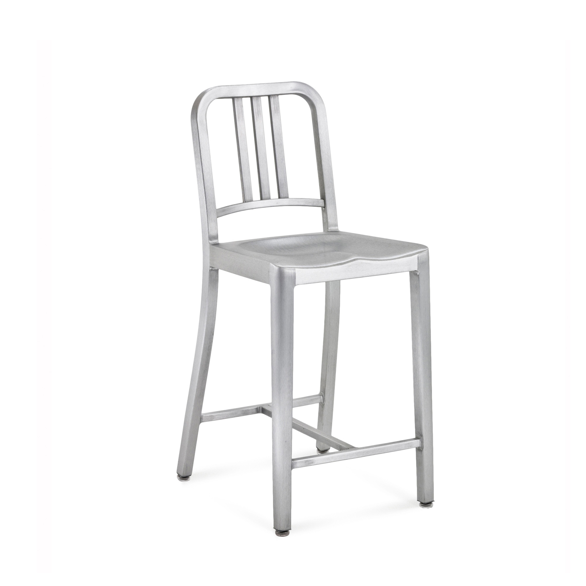 1006 Navy Counter Stool Brushed or Polished Aluminium
