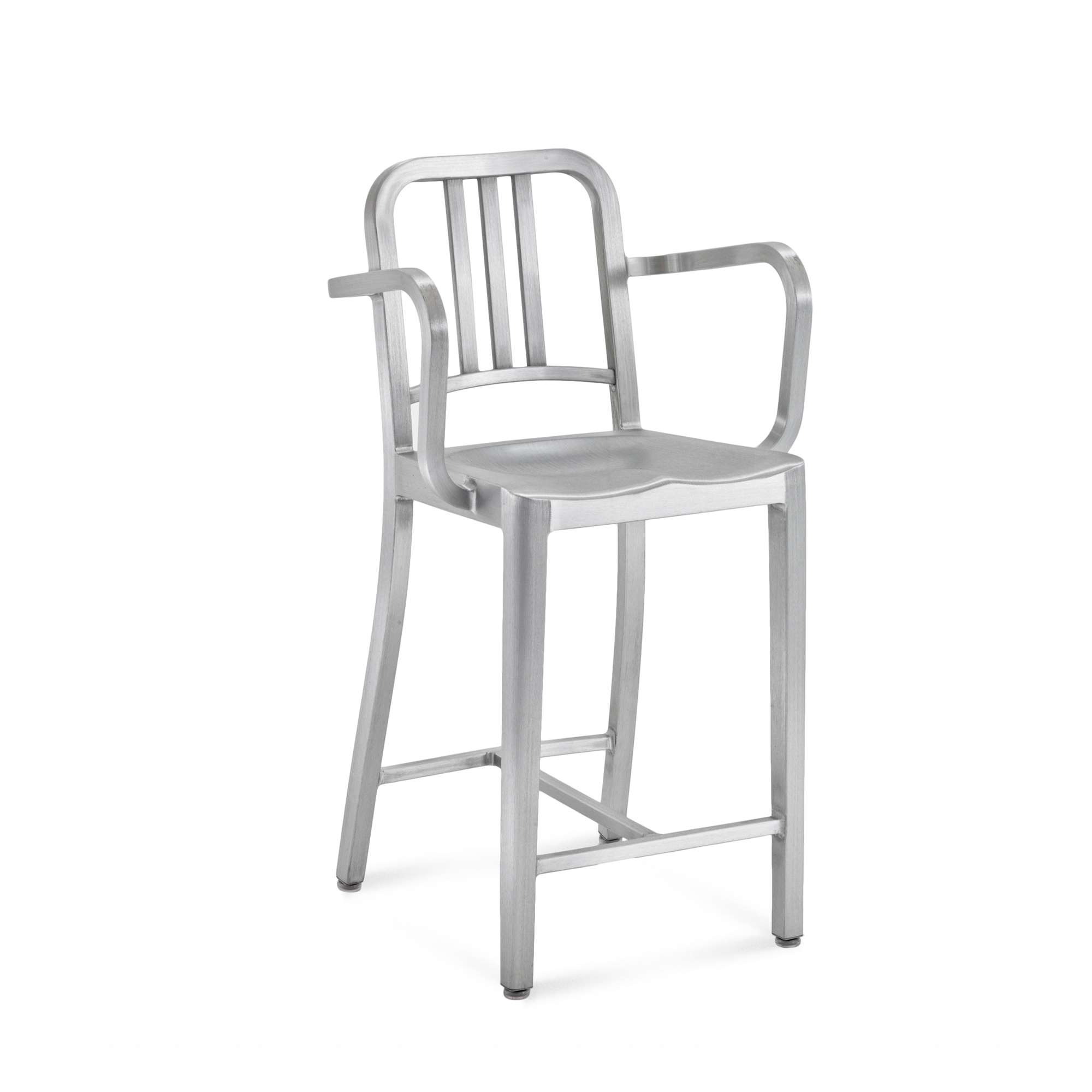 1006 Navy Counter Stool With Arms Brushed or Polished Aluminium