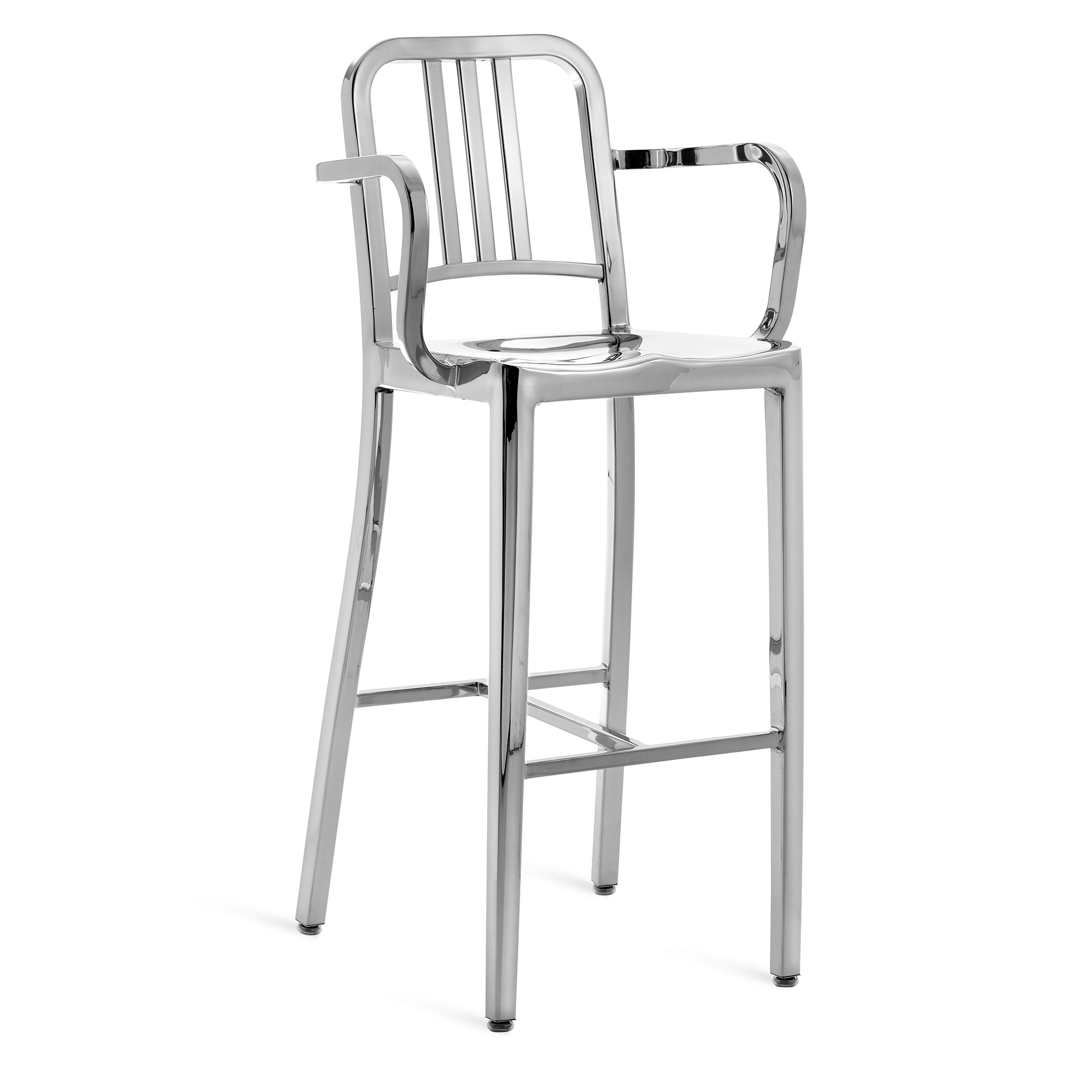 1006 Navy Barstool With Arms Brushed or Polished Aluminium