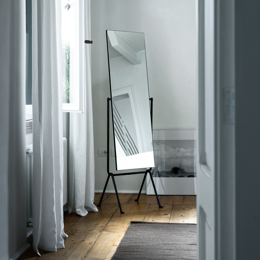Magis Officina Floor Mirror: Wrought Iron Frame + Double Sided