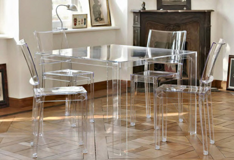 Kartell invisible table e5 glossy white 977v1 table
