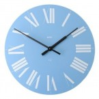 Alessi Firenze wall clock light blue face white roman numerals
