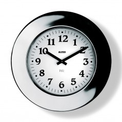 Alessi Momento large round polished steel wall clock