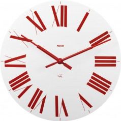 Alessi Firenze wall clock white face red roman numerals