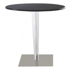Kartell TopTop round laminated table, pleat leg, grey base