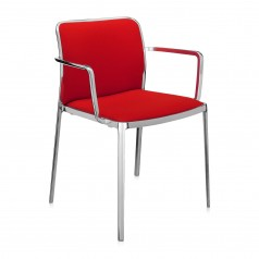 Kartell Audrey Soft dining armchair polished aluminium frame