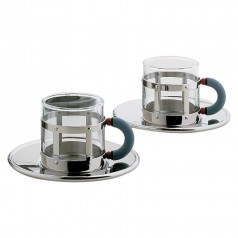 Alessi Michael Graves Set of 2 Mocha Cups & Saucers (MGDT SET)