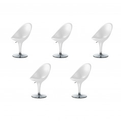Magis Bombo Height Adjustable Chairs - Set of 5 White Chairs