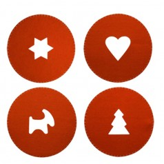 Sagaform Christmas/Valentines Placemats in Red Felt - 4 Pack