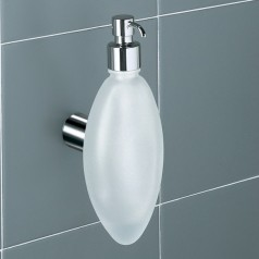Gedy Aura Liquid Soap Dispenser Holder - Frosted Glass