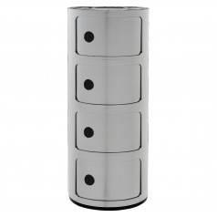 Kartell Componibili 4 Tier Storage Unit (Silver)