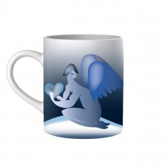A di Alessi Blue Christmas Mug - Angel & Star