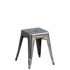 Tolix H 45 Low Stool Raw Steel