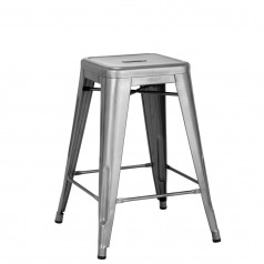 Tolix H 60 Medium Barstool Raw Steel