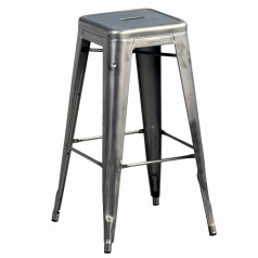 Tolix H 70 High Bar Stool Raw Steel