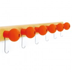 Magis Globo Coat Hooks On A Rounded Wooden Rail