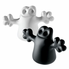 A di Alessi Carlo bottle stoppers: two ghosts, black & white
