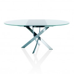 Bontempi Casa Barone Round To Oval Extendable Table