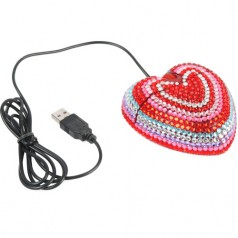 Diamond Love Heart Shaped USB Mouse