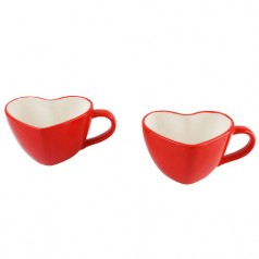 Present Time Set of Two Heart Shaped Mugs