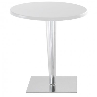Kartell TopTop gloss lacquered round cafe table pleated leg chrome base