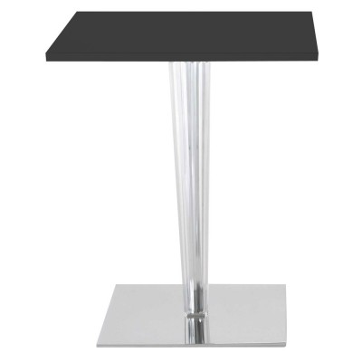 Kartell TopTop square gloss cafe table, pleated leg & chrome base