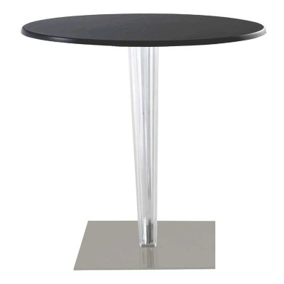 Kartell TopTop round laminated cafe table square pleated leg & grey base