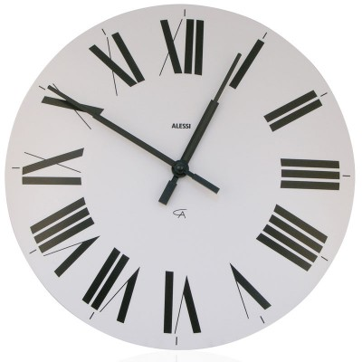 Alessi Firenze wall clock white face black roman numerals