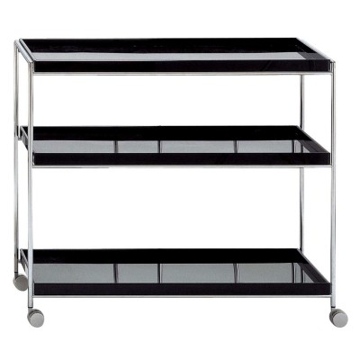 Kartell Trays Trolley in Glossy White & Black Finishes by Piero Lissoni