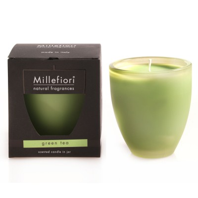 Millefiori Scented Candle In Coloured Glass Jar