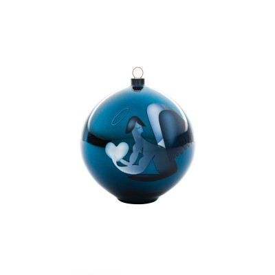 A di Alessi Blue Christmas Bauble - Angel (hand-decorated)