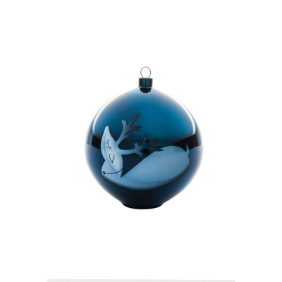 A di Alessi Blue Christmas Bauble - Reindeer (hand-decorated)