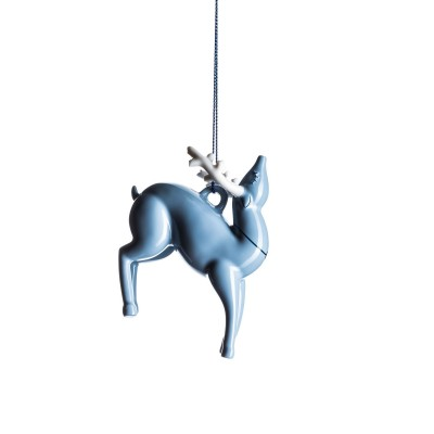 A di Alessi Blue Christmas Ornament - Reindeer (hand-decorated)