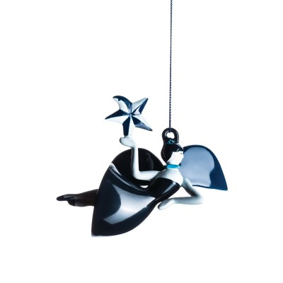 A di Alessi Blue Christmas Ornament - Dancer (hand-decorated)