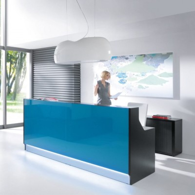 MDD LINEA Straight Reception Desk | Glass Top & Front
